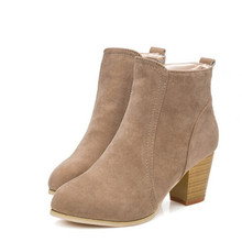 Hot Fashion Women Ankle Boots Suede Leather Winter Autumn High Heels Short Booties Shoes Comfortable Martin Casual Shoes