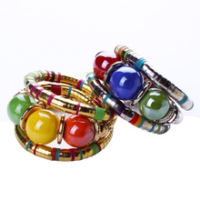 Hot Bohemian Vintage Jewelry Tibetan Gold Color Bracelet Resin Inlay Roundness Bead Adjust 2 Colour Bangle B0235(China)