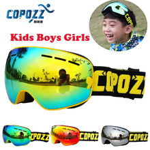 COPOZZ Kids Ski Goggles Double UV400 anti-fog mask glasses skiing Girls Boys Snowboard goggles Brand GOG-243