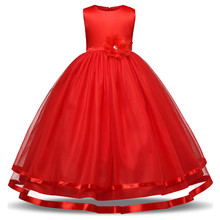 Red Elegant Flower Girl Wedding Dresses Evening Party Dresses For Teenager Girl Children Costume Kids Clothes Girl Formal Frocks(China)