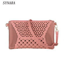 Vintage Hollow Out Flower Envelope Bag Small Women Leather Crossbody bag Shoulder bag Messenger bag Clutch Handbag Purses(China)