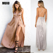Buy MUXU summer sexy backless satin dress maxi women party dresses long evening party womens clothing suspender vestidos mujer 2017 for $24.91 in AliExpress store