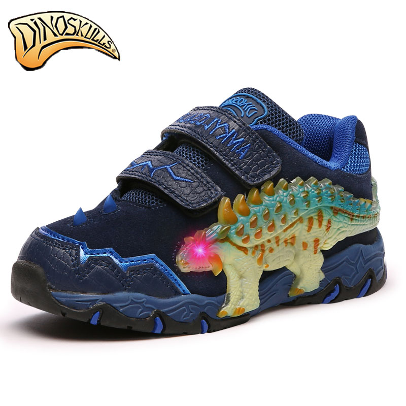 Kids shose  Boys Shoes Casual Sneakers Leather Dinosaur flashing lights Fashion Children Boy Autumn Winter Sneakers Children<br>