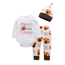 New Thanksgiving autumn winter warm baby boy girl print T shirt tops+pants+hat 3pcs clothes set mimis little turkey lowest price