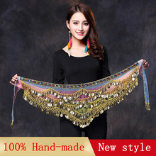2017 New style belly dance belt newest multi-color glass silk belly dancing belt scarf crystal bellydance waist chain hip scarf(China)