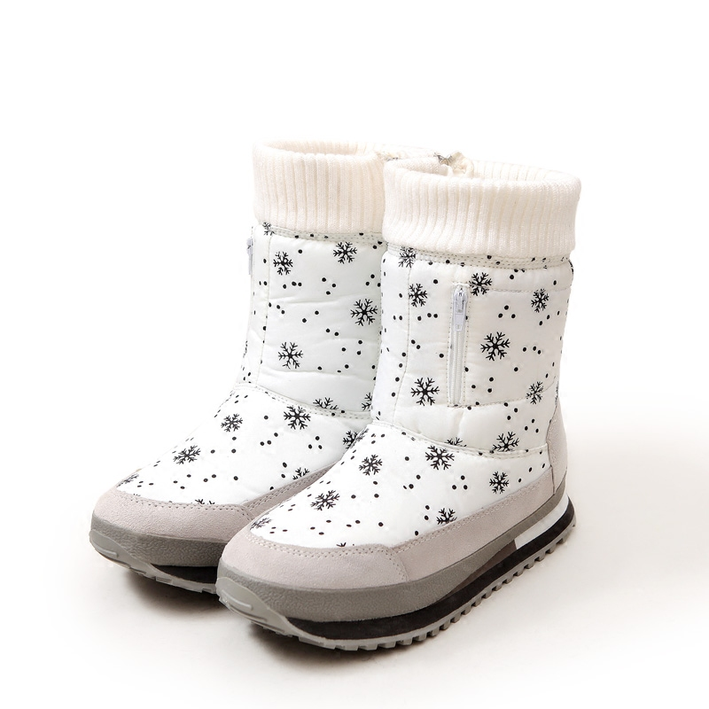 Snowflake Pattern Waterproof Winter Mid High Snow Boots 2017 New Non-slip Thickening Warm  Female Boots Cotton Shoes Zipper<br>