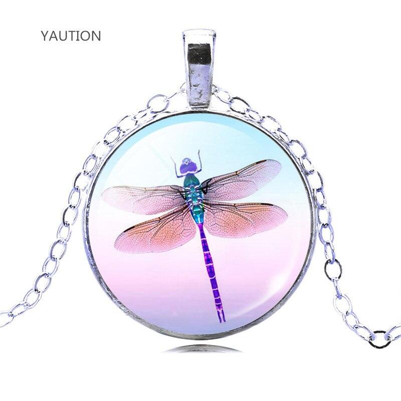 Подвеска YAUTION милый Кристалл стрекозы кабошон модный серебристый цвет ожерелье с