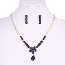 Navy Blue Engagenment Jewelry Set For Girl Luxury Dress Jewelry 2 Pcs Golden Plated Party Jewelry Set(China)