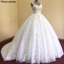 Buy Vinca sunny Vestidos De Novia Wedding Dresses 2018 Lace Appliques Court Train Plus Size Arabic Bridal Wedding Dress Custom for $180.94 in AliExpress store