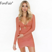 Buy ForeFair Sexy V-neck Bow Mini Bodycon Club Party Dresses Women Long Sleeve Black White Ruched Autumn Winter Dress for $10.99 in AliExpress store