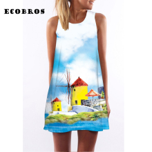 Buy ECOBROS 2017 New Woman Summer Dress casual sleeveless Loose house sky print mini dresses plus size woman clothing dress for $7.99 in AliExpress store