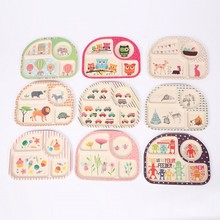 new Baby Kids Cute Cartoon Bamboo Fibre Dinner Plate Dinnerware Safe Children Eco Dishes Zoo Animal Plate Bowl(China)