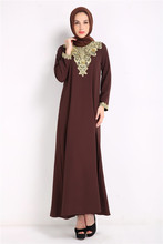 8086 # make ebay speed sell tong Muslim long sleeve lace stitching round collar loose dress wd - 947130