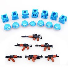 6pcs guns+7pcs helmet and Beret UN Bulletproof Vest AK Weapons Pack Military Series Army Bricks Arms For City Police Blocks Toys