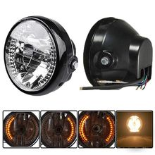 "Universal 7"" Motorcycle Bike Headlight LED Turn Signal Light Lamp 35W H4 Hi/Low Halogen Fits CG125 GN125 CG200 Cafe Racer Bobber"