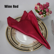 "50pcs/lot 19"" Red/White Multi Color Hotel Banquet Satin Table Napkin Folding Cloth For Wedding Party Ceremony Event Decoration"