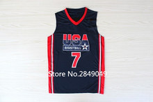 Retro #7 larry bird 1992 dream team USA Basketball Jersey Embroidery Stitched Custom any Number and name(China)
