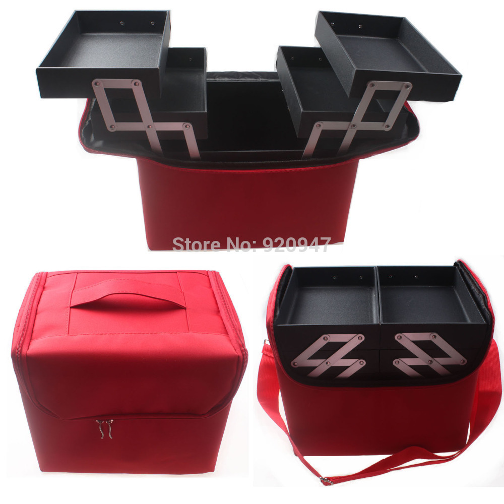 Professional Portable Make up Box Makeup Bag Beauty Case Cosmetic Bag Multi Tiers Jewelry Box<br>