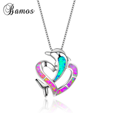 Bamos Super Romantic Pink & Blue Fire Opal Heart & Dolphin Pendant Necklace 925 Sterling Silver Filled Lover Jewelry Best Gifts(China)