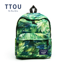 TTOU Design Green Color Feather Printing Backpack Teenage Girls School Bag Women Backpack Travel Bag Gift for Girls
