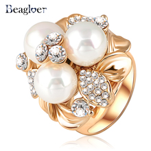Beagloer Three Imitation Pearl Ring Gold Color  Austrian Crystal Fashion Lovely Ring For Women Ri-HQ0066
