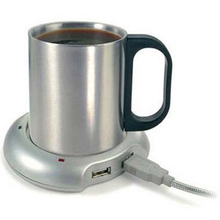 2.5W 5V DC USB Cup Mug Warmer Heater Pad with 4 Port USB Hub keep coffee / tea / beverage warm (Silver)