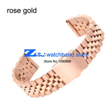 General flat interface Stainless steel Watchband metal wristwatches band rose gold  watch belt width 18mm 20mm strap
