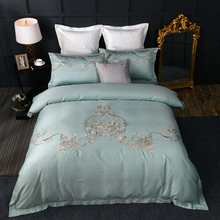 Elegant Purple green 4/6 Pieces Bedding Sets embroidery Queen/King Size Duvet Cover Set Pillow Cases square pillowcase
