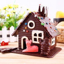 Baking Tools DIY 3D Christmas Gingerbread House Set Plastic Mold Chocolate Cake Mould For Make Biscuits Cake Baking Set