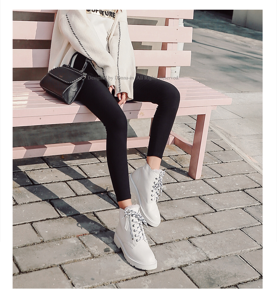 Donna-in Winter Martin Boots Women Platform Ankle Boots Heels White Motorcycle Punk Booties Fur Lace Up Snow Shoes for Ladies (3)