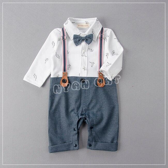 2017 New Autumn Bay Boy Romper Kids  Cute Dinosaur Cartoon Clothes Gentlemen Stylish Bow Tie Infant Jumpsuit Newborn Clothing<br><br>Aliexpress