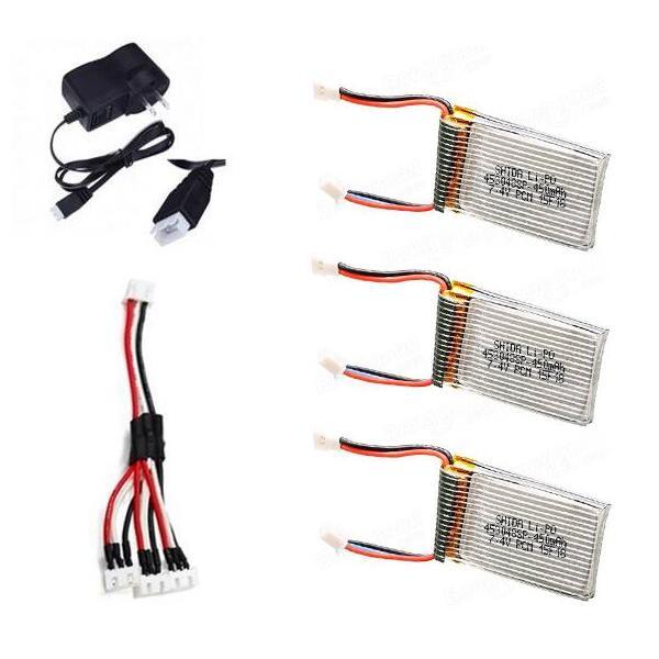 3pcs 7.4V 450mAh Battery + 1pcs USB Charger for Cheerson CX-32 CX-32C CX-32W CX-32S CX-33 Spare Parts<br>