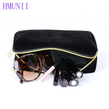 Black velvet Zipper Makeup Bag Large Capacity Pouch Girl Cute Cosmetic Bag Travel Wash Bag Storage Bags  Organizer Box