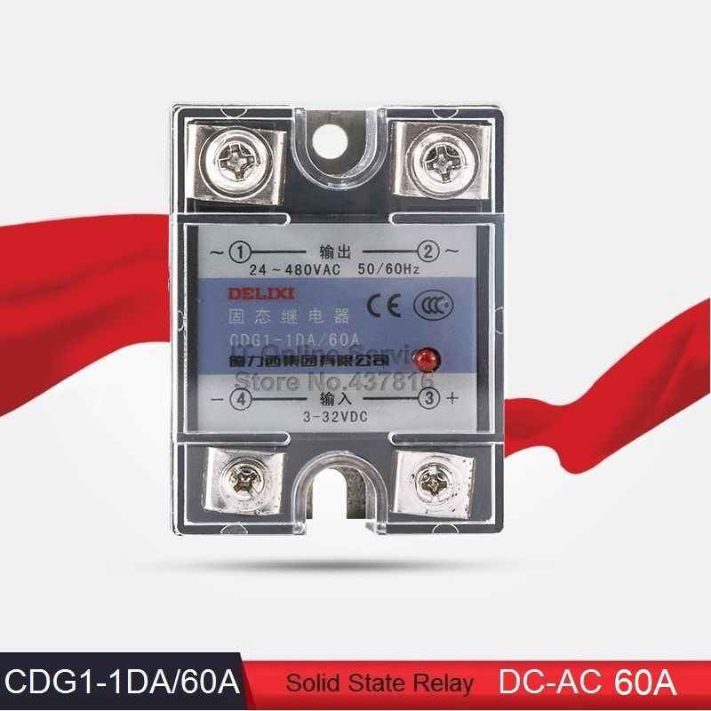 High Quality DC-AC 60A Solid State Relay 60A Single Phase SSR  Input 3-32VDC Output 24-480VAC (CDG1-1DA/60A)<br><br>Aliexpress