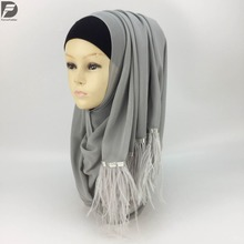 2017 Newest Styles Women Luxury Brand Feather Plain Bubble Chiffon Shawl Niqab Arab Headscarf Muslim Scarf Islamic Turban can68(China)