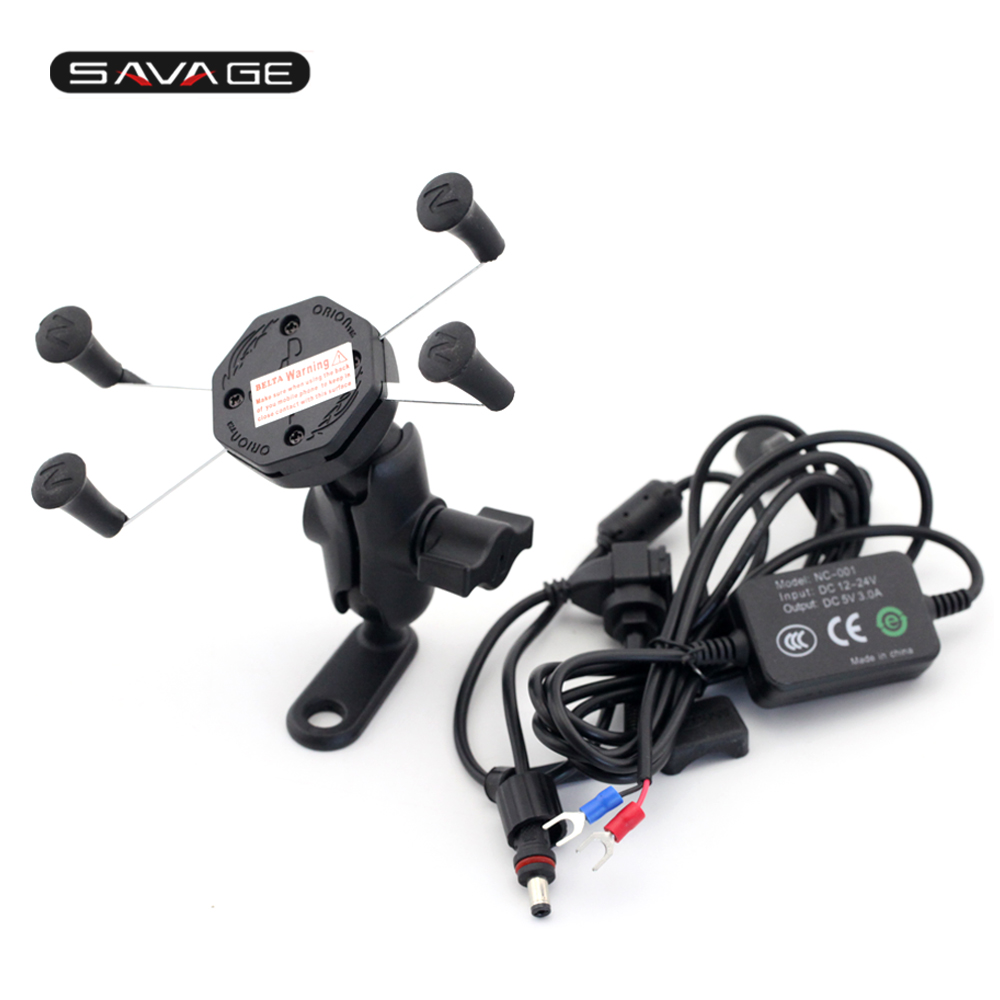 For YAMAHA XT660 XT1200Z V-MAX1700 Phone Holder Navigation Frame Bracket With USB Charge Port  Motorcycle Accessories<br>