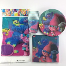 61pcs/lot Cartoon Trolls Theme kids birthday decoration tablecloth napkins plates cups party supplies for 20 kids