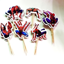 24pcs Cartoon Superman Spiderman Cake Hat Boy Party Cupcake Toppers Picks Kids Birthday wedding Decoration Family Party Supplies(China)