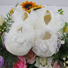 Todder pre-walker shoes Rose Flowers Ribbon bow Princess Newborn Baby Shoes soft sole CL04