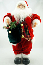 Cosette Red Velvet Tartan Santa Claus Doll Collect Christmas Decor Green Bag 18""