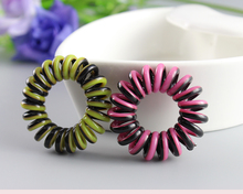 Magic Fashion Telephone Line Wire Dark Two Tone Colors Mix Hair Ties Bands Stripe Hair Ring Ponytail Holders Hair Accessories(China)