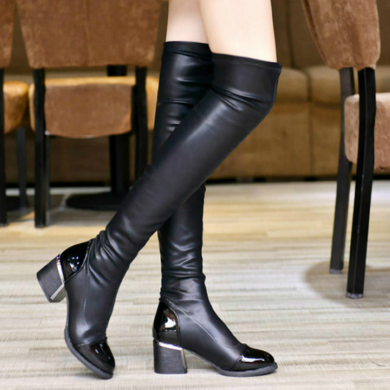 2017 new Fashion PU Leather Over Knee Boots Women Sequined Toe Elastic Stretch Thick Heel High Riding Boots Big Size 40 W8858W<br><br>Aliexpress