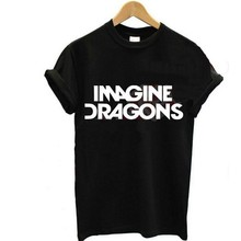 Buy Women T shirt Summer Fashion IMAGINE DRAGONS Tee Letters Printing Short sleeve All-match O-neck Black White Casual hot sale for $5.95 in AliExpress store