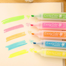 5 Pcs / pack , Stationery Multicolour Candy Color Neon Marker Highlighters Watercolor Chalk Pen