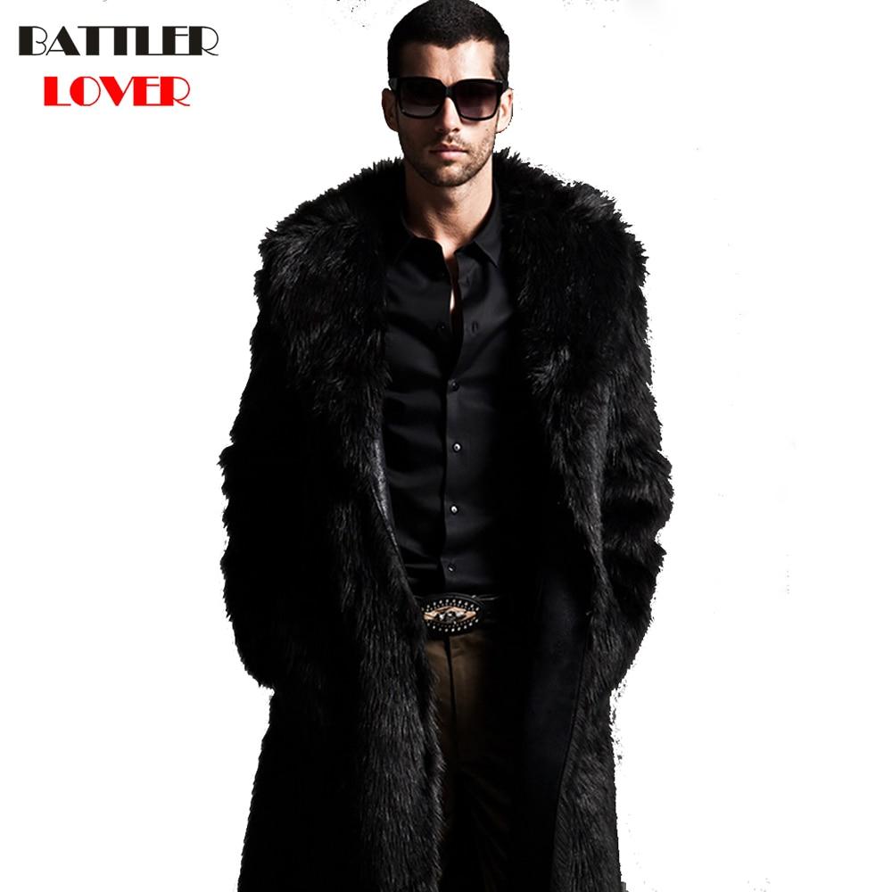 2018 Men Fur Coat Winter Faux Fur Outwear Coat Mens Punk Parka Jackets Long Leather Overcoats Hombre Genuine Fur Brand Clothing