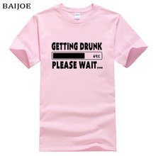 2017 Fashion O-Neck Men T shirt getting drunk please wait 69% Funny Camisetas T-Shirt Man Casual Cotton Short-sleeve Tops Tshirt