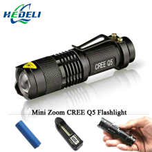 Mini flashlight led lanterna  cree torch Zoom 2000 lumens waterproof 14500 rechargeable battery OR AA