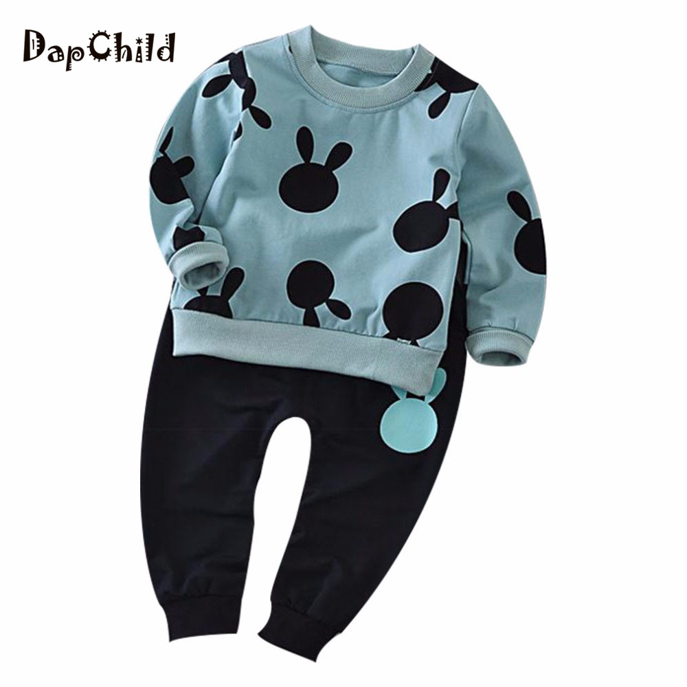 Dapchild Baby Boys Girls Clothing Sets 2017 New Autumn Long Sleeve Sport Suit Cute Cartoon Mouse Head Kids Tracksuit Pink Blue <br>