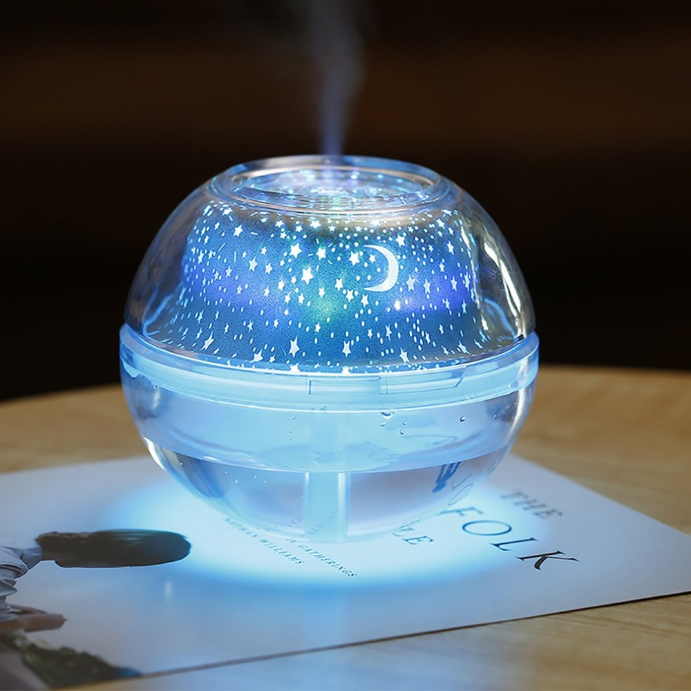 USB Air Humidifier Essential Oil Diffuser LED Projector Light Crystal Night Lamp Mini Portable Home Humidifier(China)