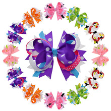 "12PCS 4.5""-5"" 12cm Stacked Polka Dot Fabric Giant Hair Bow For Women Girls Hair Alligator Clip Flower Hair Accessories(China)"
